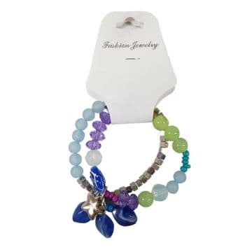 2 x MULTI COLOURED DOUBLE RING BRACELET with BLUE GEMS and SILVER STAR jewellery